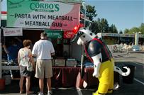 Sparky in line at Corbos Stand
