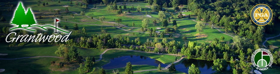 Grantwood Golf Course aerial view with course logo, PGA logo and association logo
