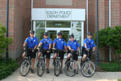 Police patrol officers on bikes
